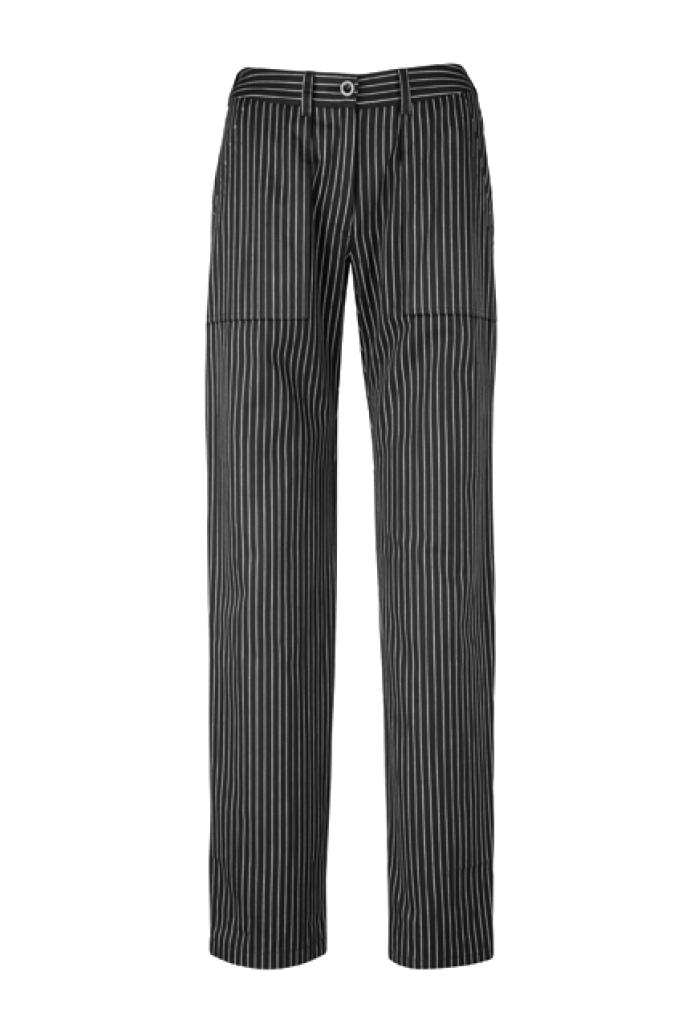 Kuchařské kalhoty černá, bílý proužek