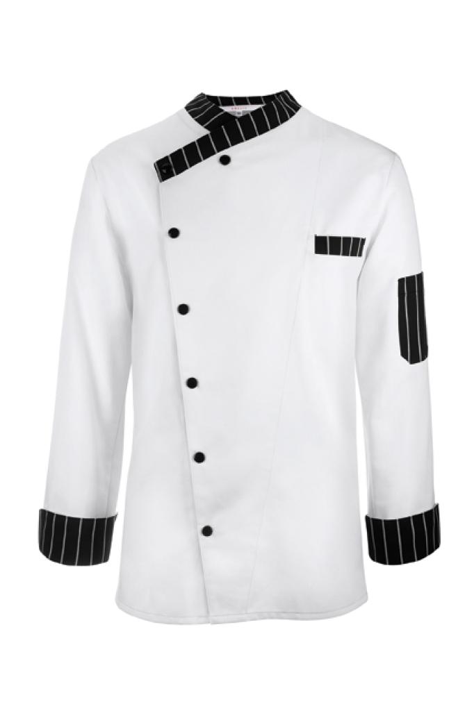 Kuchařský rondon bílá,černý/bílý proužek