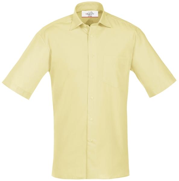 Pánská košile, krátký rukáv - žlutá