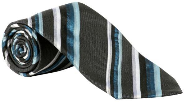 Kravata modrá-aqua/antracit-proužek