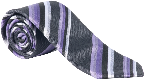 Kravata lila/antracit-proužek