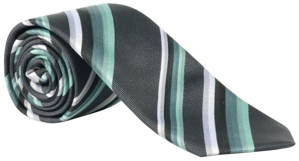 Kravata zelená/antracit-proužek