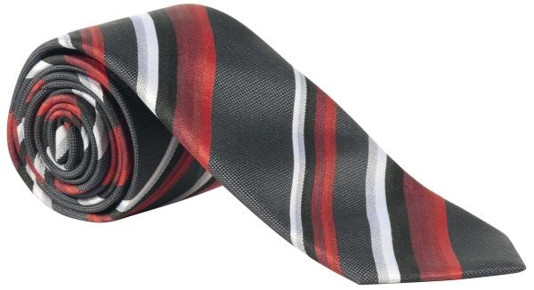 Kravata červená/antracit-proužek