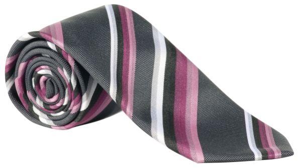 Kravata růžová/antracit-proužek