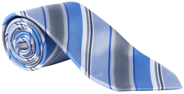 Kravata modrá/šedá-proužek