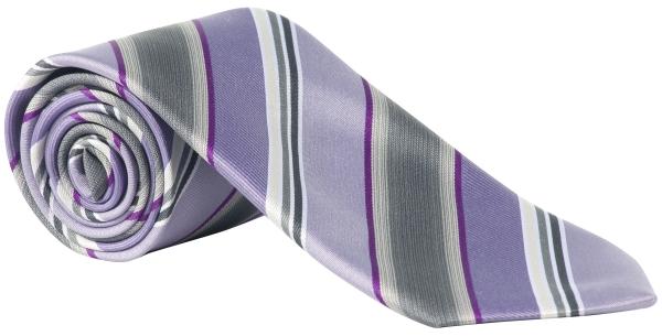 Kravata lila/šedá-proužek