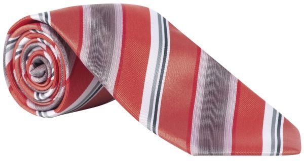 Kravata červená/šedá-proužek