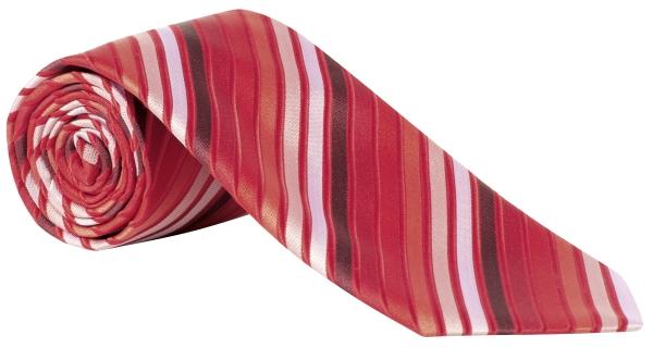 Kravata červená/bílá-proužek