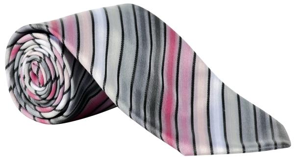 Kravata šedá/růžová-proužek