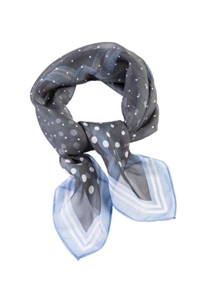 Šátek sv. modrá/šedá - bílé puntíky