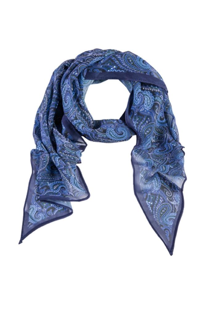 Šál tmavě modrý paisley