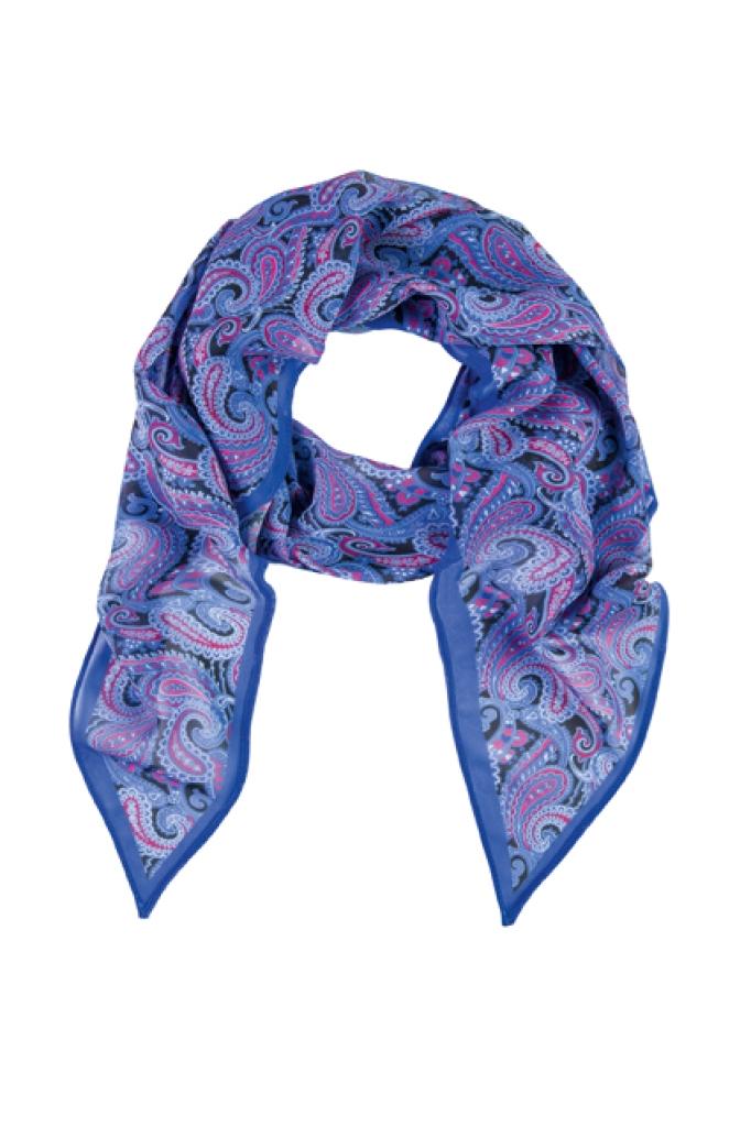 Šál modrý/růžový paisley