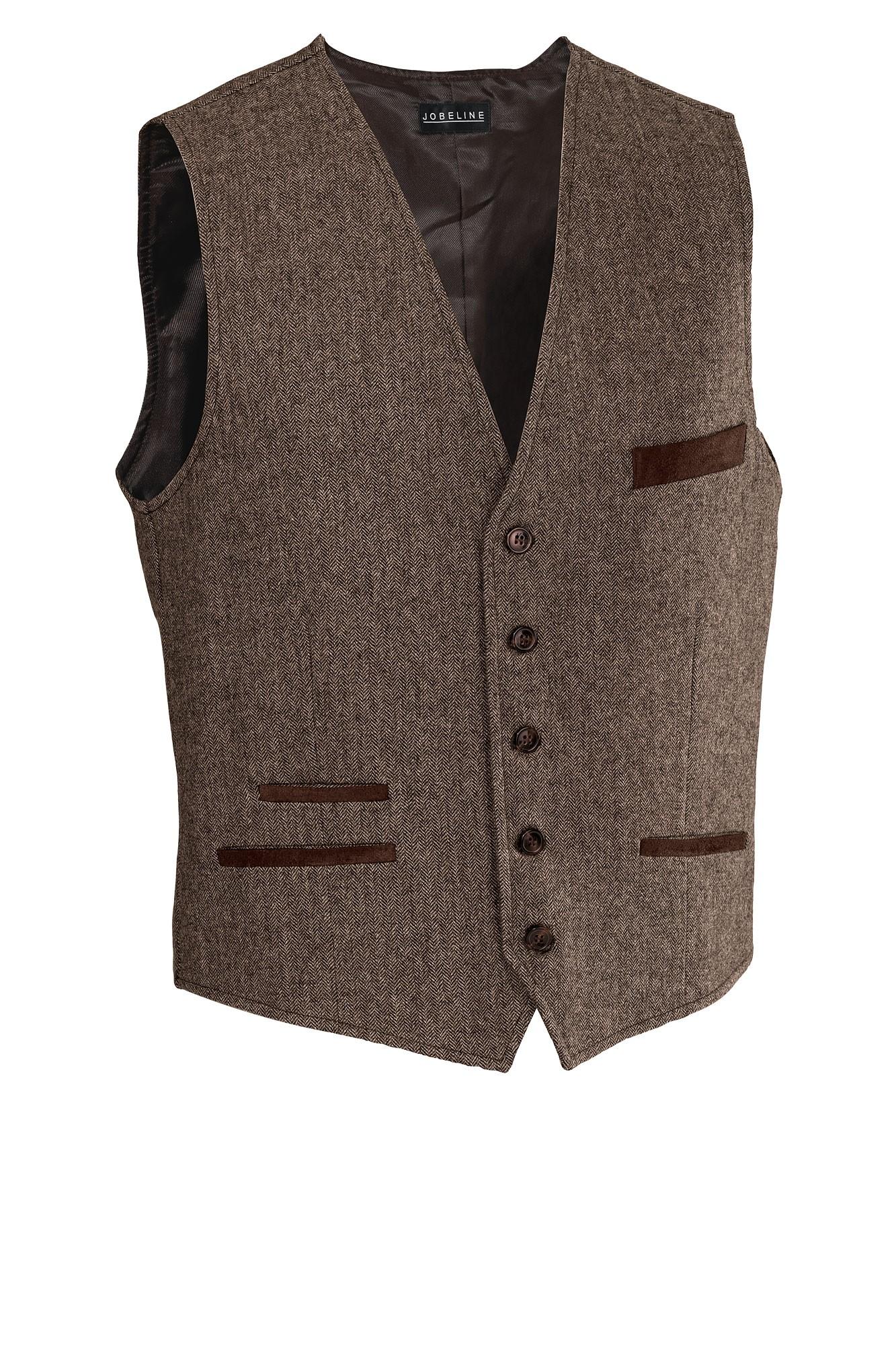 Pánská vesta Austin- hnědá rybí kost