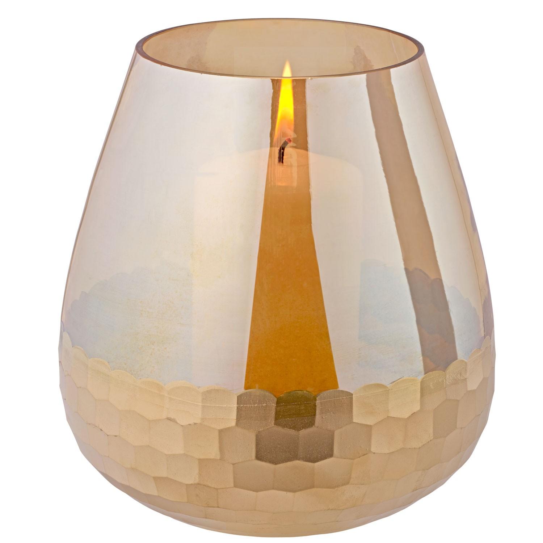 Zlatý skleněný svícen, velký