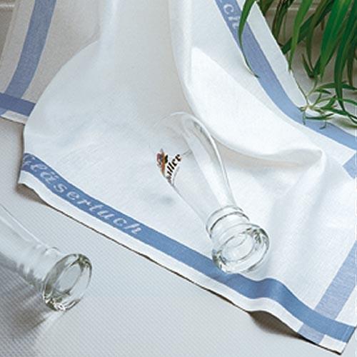 Utěrky Glasfein - bílá/modrý pruh