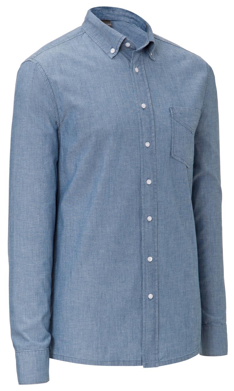 Pánská košile Chambray, dlouhý rukáv - modrá