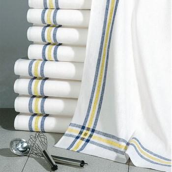 Utěrky Lille - bílá/žlutý,modrý pruh